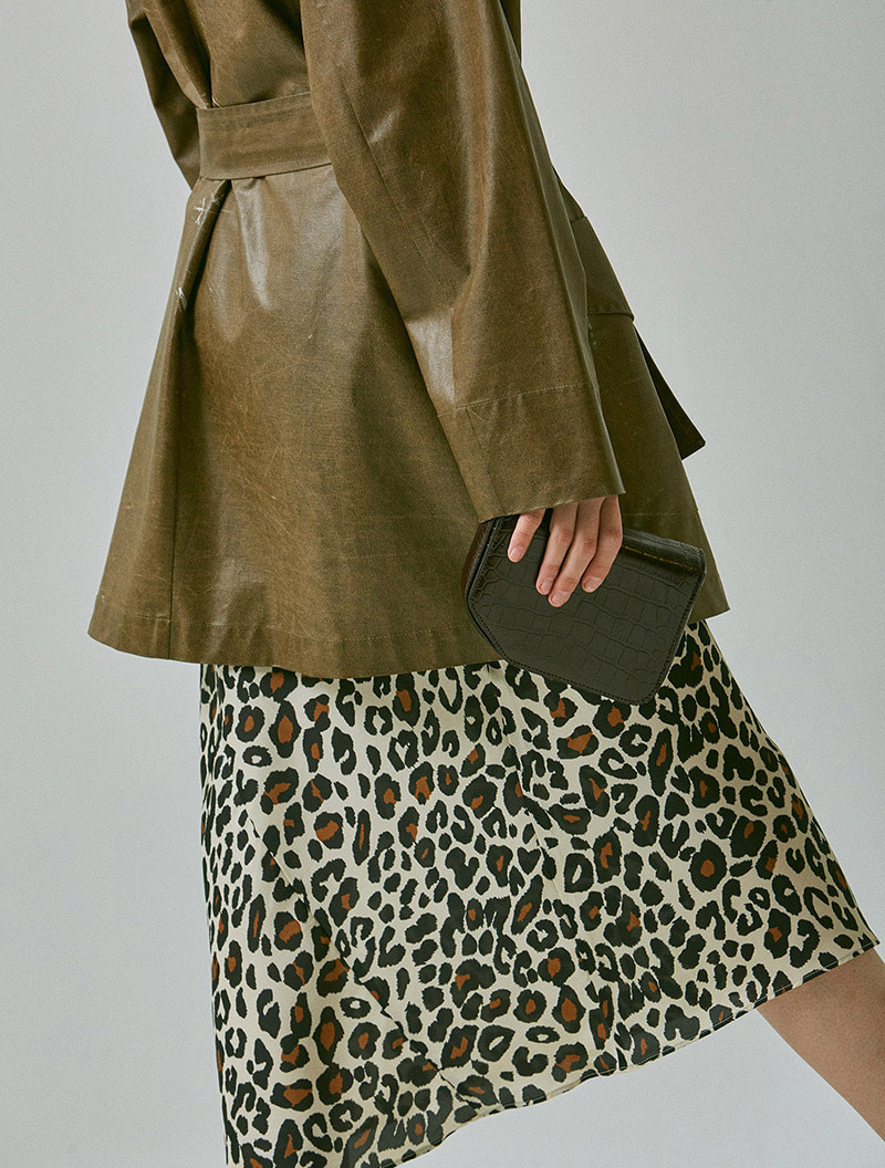 SATIN SKIRT LEOPARD IVORY