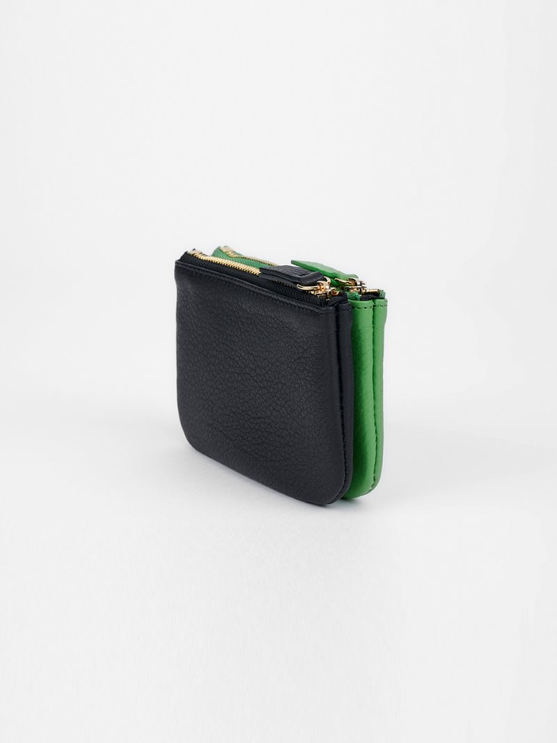 WALLET-DOUBLE MIX-BLACK x APPLEGREEN [LESAC]