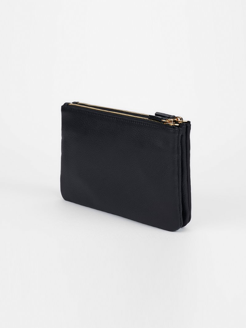 POUCH-DOUBLE-BLACK [LESAC]